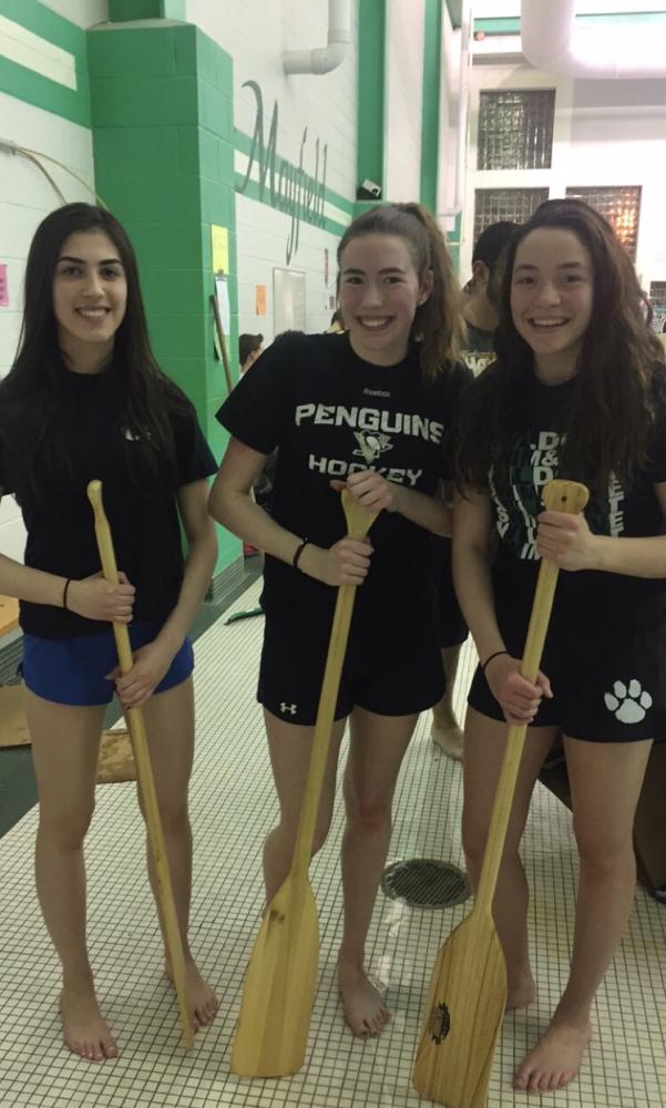 From left to right: Raina Dano (senior), Ripley Crosley (junior), and Carmen Ferrante (senior).  Group wins first place at 2017 Boat Regatta.