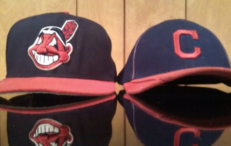 Out with the old, in with the new; the Chief Wahoo logo, shown left, and the Block C cap serving as the predecessor.  Photo by Joe DeNardo