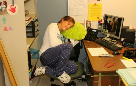 Math teacher Kristen Surdy is perhaps too comfortable at school when wearing her pajamas.