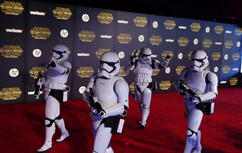 The iconic storm troopers of the beloved Star Wars world marched along the red carpet at the Hollywood premiere of the latest installment,