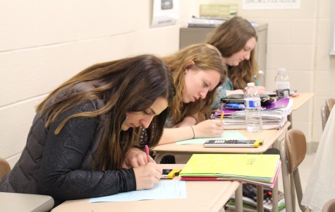 Marissa Pusateri and Carissa Newsome work diligently in their Math class so they can absorb the information.