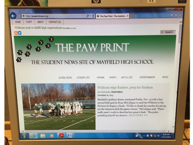 The Paw Print, Mayfield High School's newspaper, is pictured here. The Paw Print has brought numerous new aspects to the school through its positive influence, passion, and honesty.