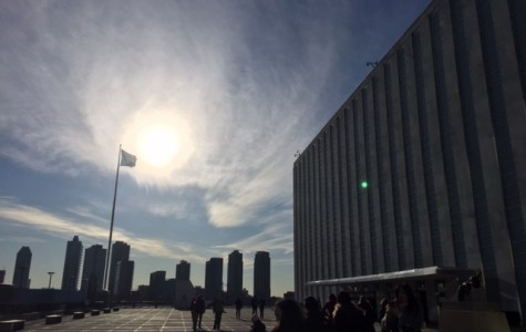 Walking in at the UN.