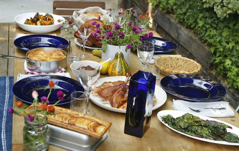 A Thanksgiving table is spread out at the Laurel Canyon home of chefs Karen and Quinn Hatfield in Los Angeles, California.