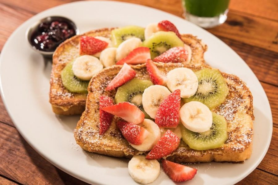 Seasonal item, Floridian French Toast, served at First Watch is swimming in syrup and fresh, tasty fruit.