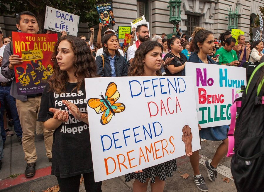 Protesters+hold+various+signs+and+banners+at+a+DACA+rally+in+San+Francisco.