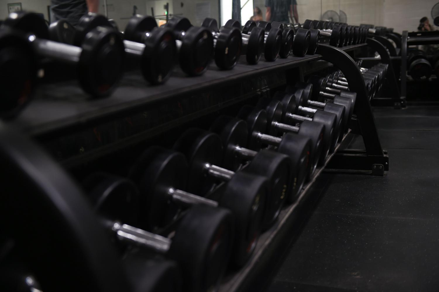 Dumbbell free-weights,  seen here for use at the Dyess Fitness Center at Dyess Air Force Base in Texas, can be found at any gym.