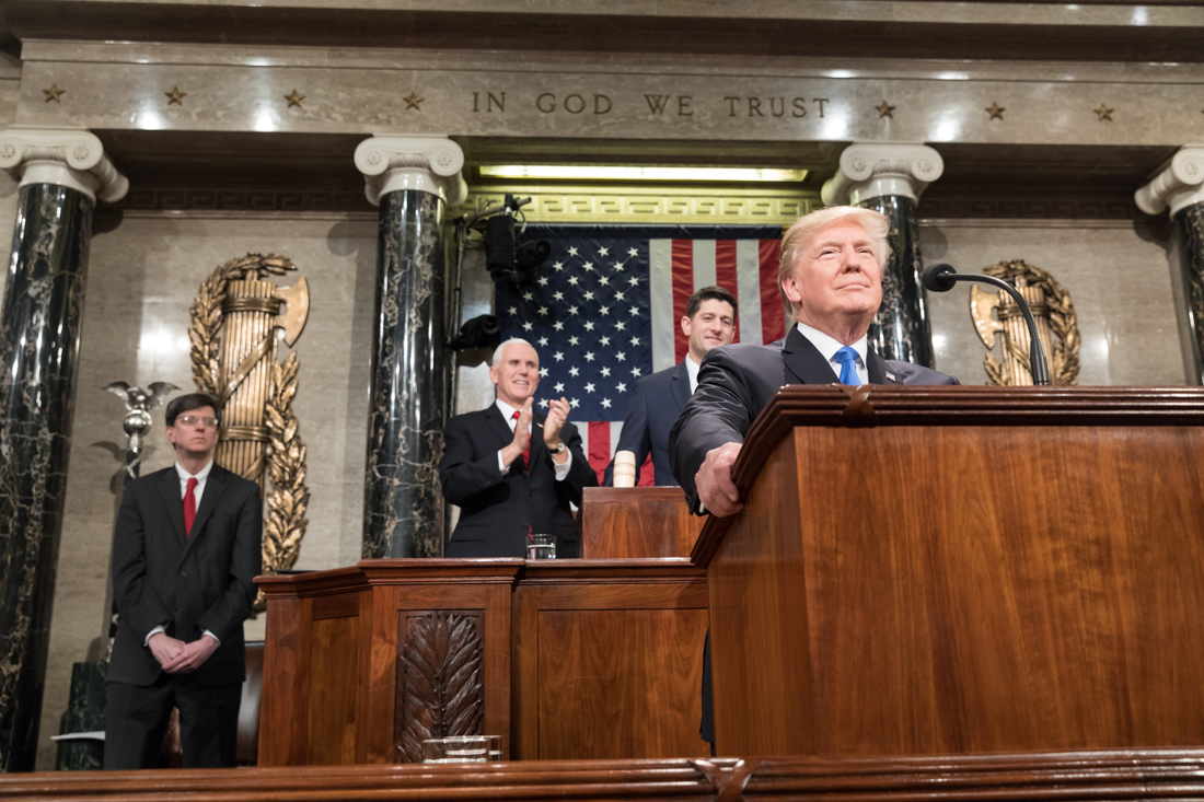 President Trump at the podium during his 2018 State of the Union address.