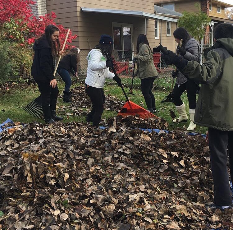 Interact+Club+members+rake+leaves+in+the+community.