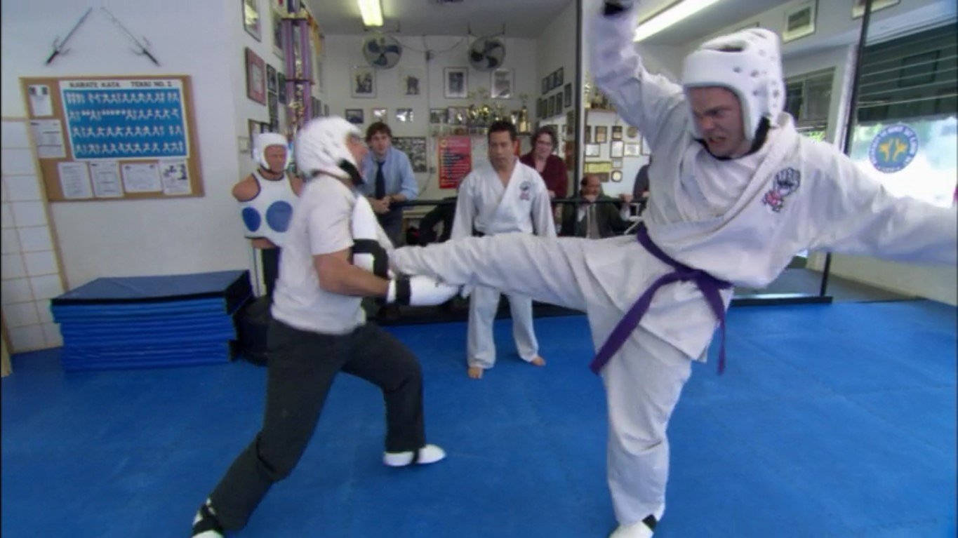 "Dwight and Michael are fighting at Dwight's dojo due to a conflict back at the office. Screenshot taken by Gavin Mitten from Amazon's episode six in season two of ""The Office."