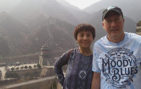 Even while visiting China with his wife, Ed Beck wears one of his favorite band shirts for The Moody Blues.