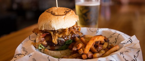The Bison Bacon Burger is a popular choice on Harry Buffalo's impressive menu.
