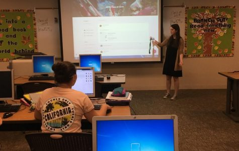 Alex Shaw instructs her self-paced English 4 class.  The class only meets three times a week.