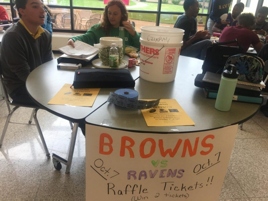 Senior+and+co-president+of+Cats+Cabinet+Elizabeth+Reisman+sells+raffle+tickets+during+her+lunch+period.++Reisman+and+many+other+MHS+students+keep+busy+with+clubs+and+sports.