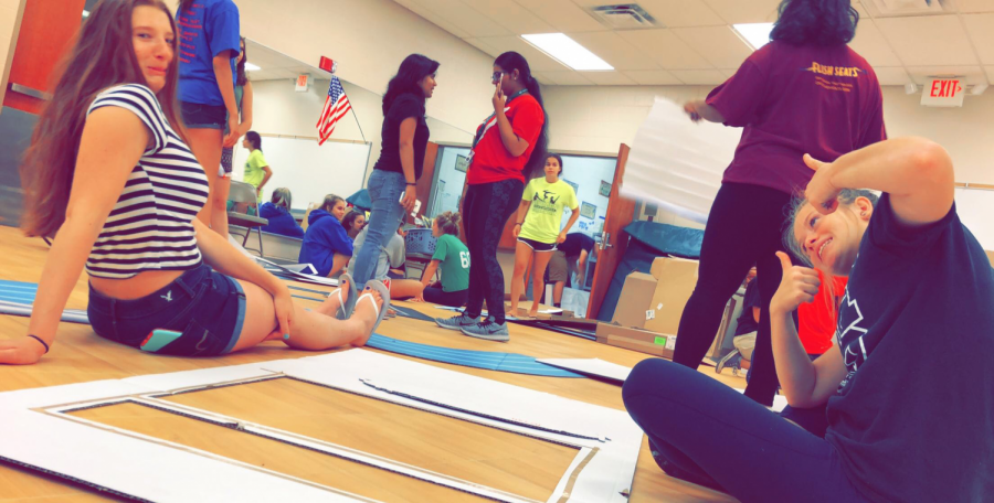 Sophomores Reagan Sovchen and Sophia Woods met with other student council members over the summer to help create decorations for the homecoming assembly and dance.
