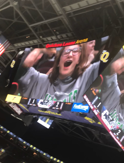 Savanna Bresler jumping for joy when she made it onto the jumbotron.