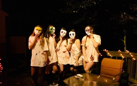 Jordan Watson and her friends celebrate Halloween in their matching Purge costumes Left to right: Alison Laws, Allison Urban, Maggie Hall, Liv Farinacci, and Jordan Watson
