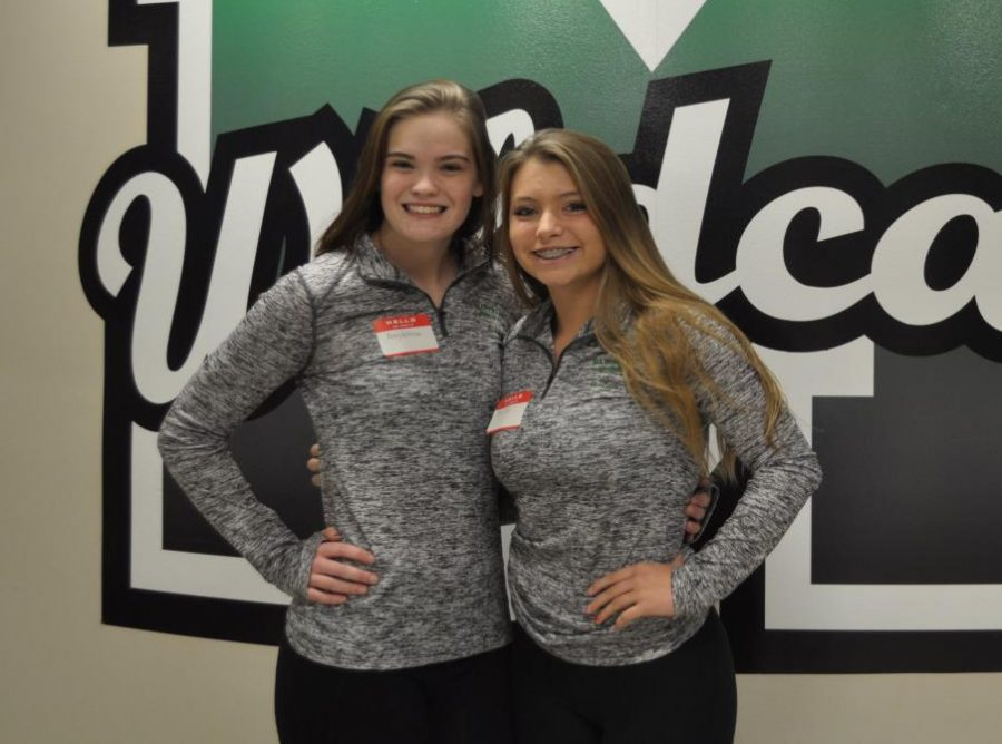 Senior Abby Withrow and junior Becca Fritz are two key members of the gymnastics team this year.  They attended Media Day on Friday, Nov. 9