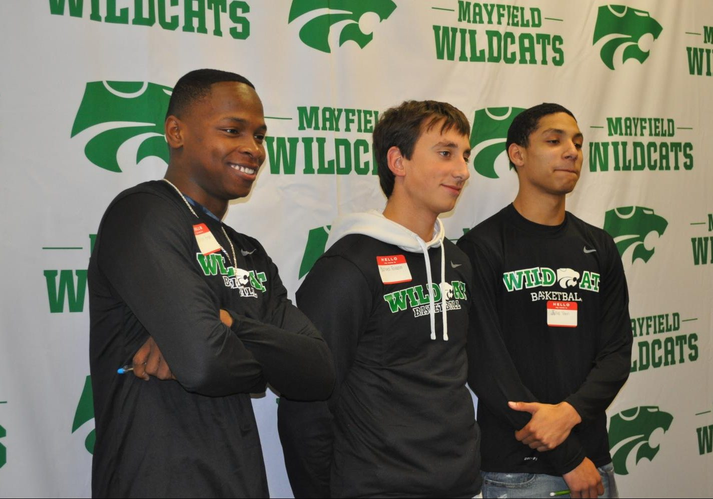 Senior Neshawn Brown, junior Michael Favazzo, and senior Julius Vann lead the basketball team this year.  The three boys attended Media Day on Friday, Nov. 9.