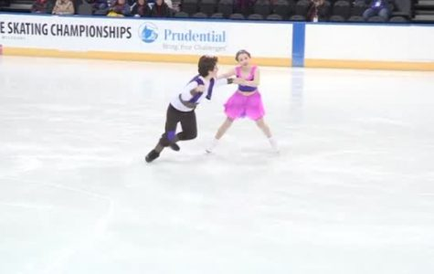 Marius Driscoll prepares with partner, Maria Brown on the ice for the main competition happening later in the evening.