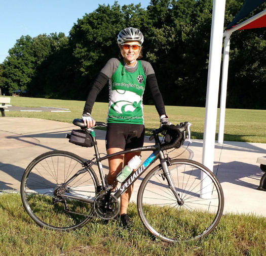 Polly Canfield represents Mayfield during the Buckeye Breakaway cycling race.