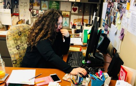 Guidance counselor Mia Bourdakos makes final adjustments to students' second semester schedules before Winter Break.