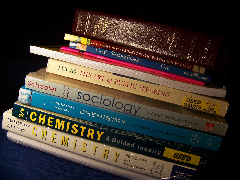 Stack of school textbooks