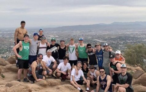 The boys varsity baseball team hiked to the top of Camelback Mountain with their coaches.  The mountain is also known as Big Pocono and is located on the Pocono Plateau.