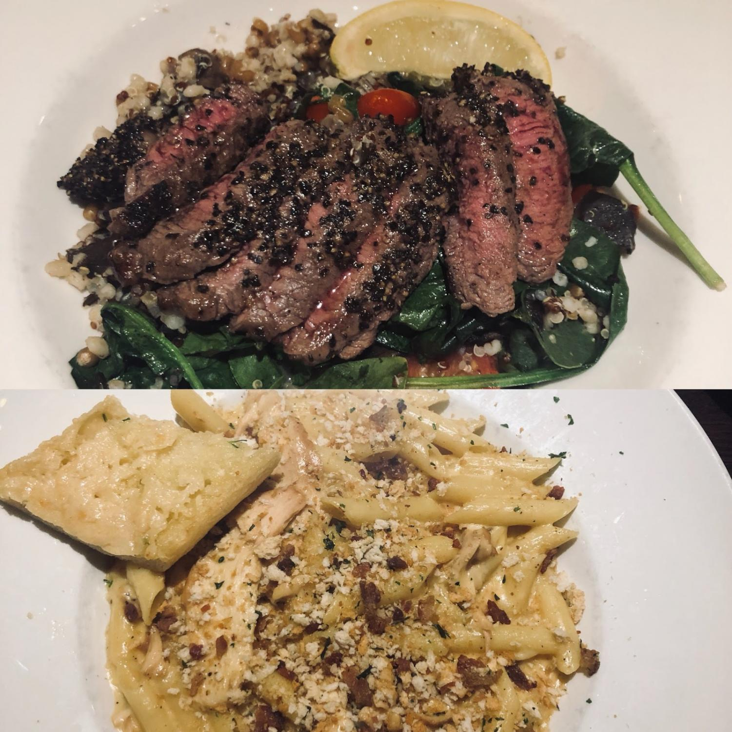Top image: The Cracked Pepper Sirloin is served over ancient grain. Bottom image: The Bock & Cheese Pasta comes with a creamy cheese sauce topped with breadcrumbs.