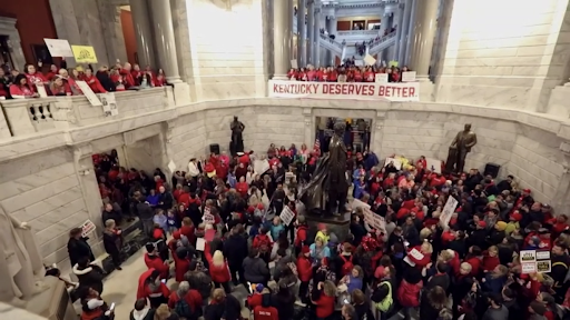 Kentucky teachers storm the statehouse to protest the lack of pension funding.