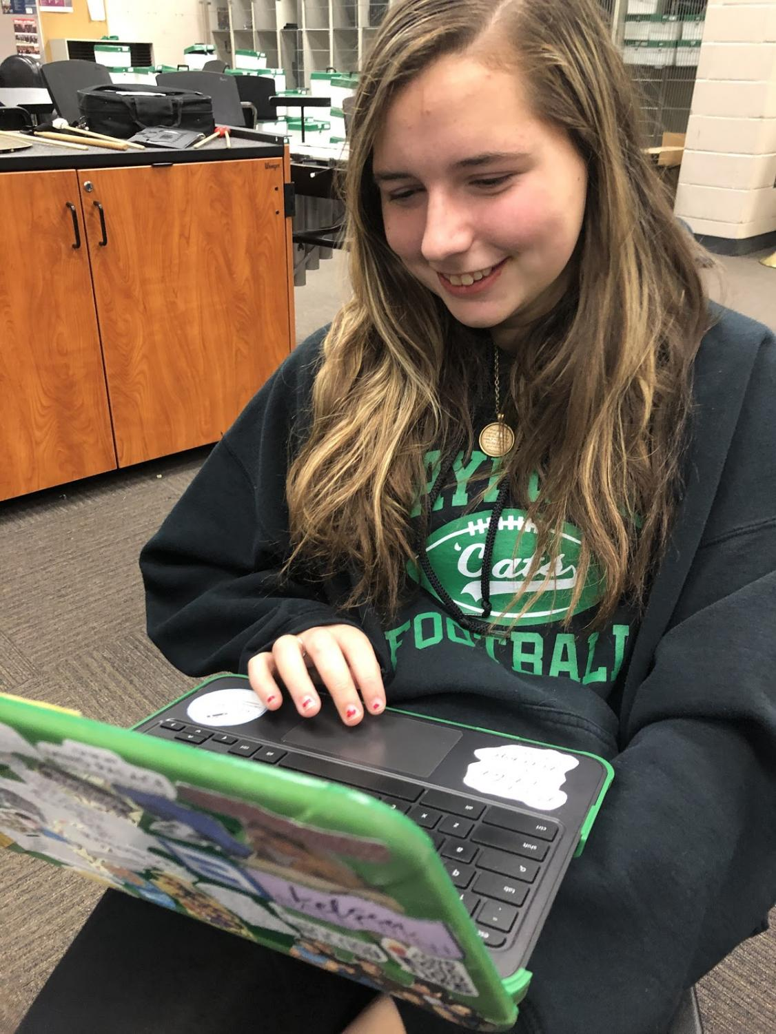 Whether she's at school or home, sophomore Sarah Carlile is always typing a story on her Chromebook.