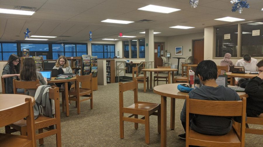 Students in first period study hall works in the Library Media Center.  There are now study halls scheduled in the LMC all day.