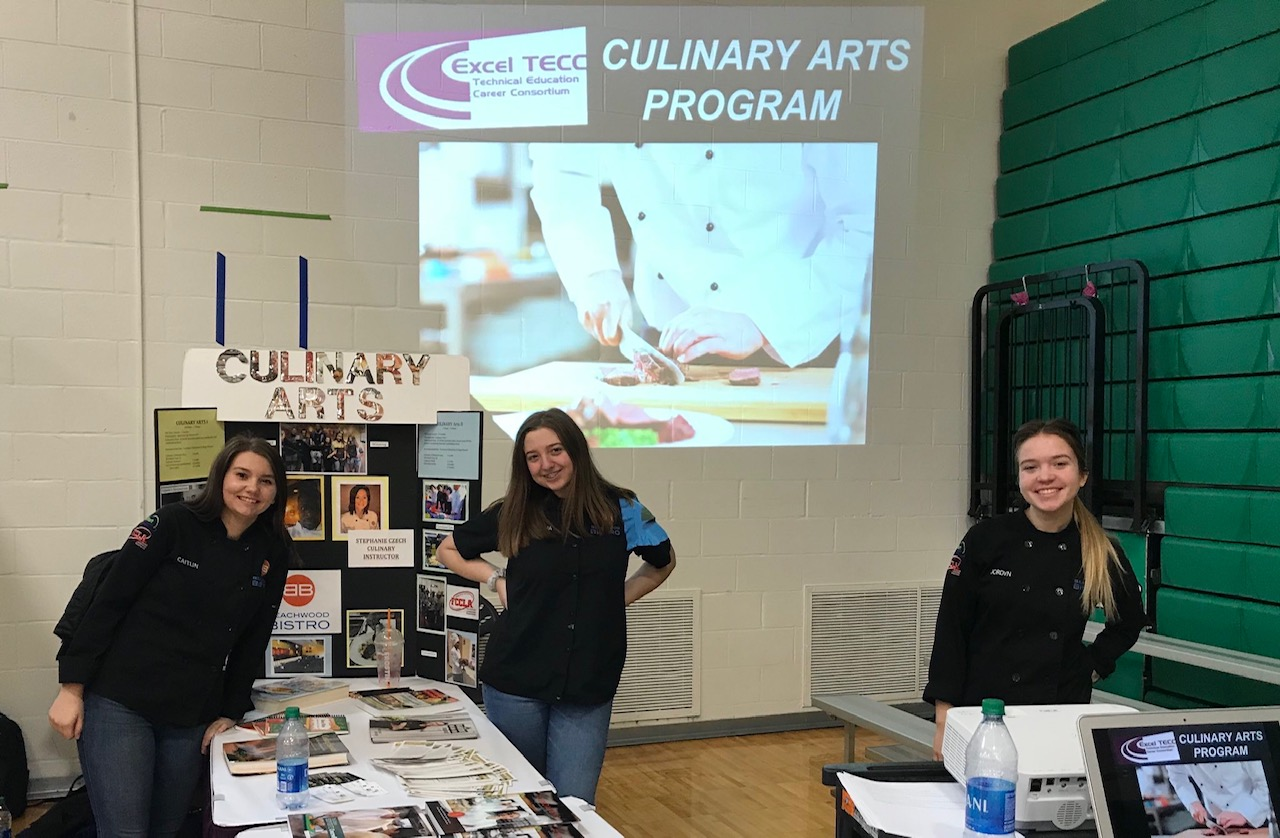 Students in the Culinary Arts program presented to sophomores at Opportunity Day in December.