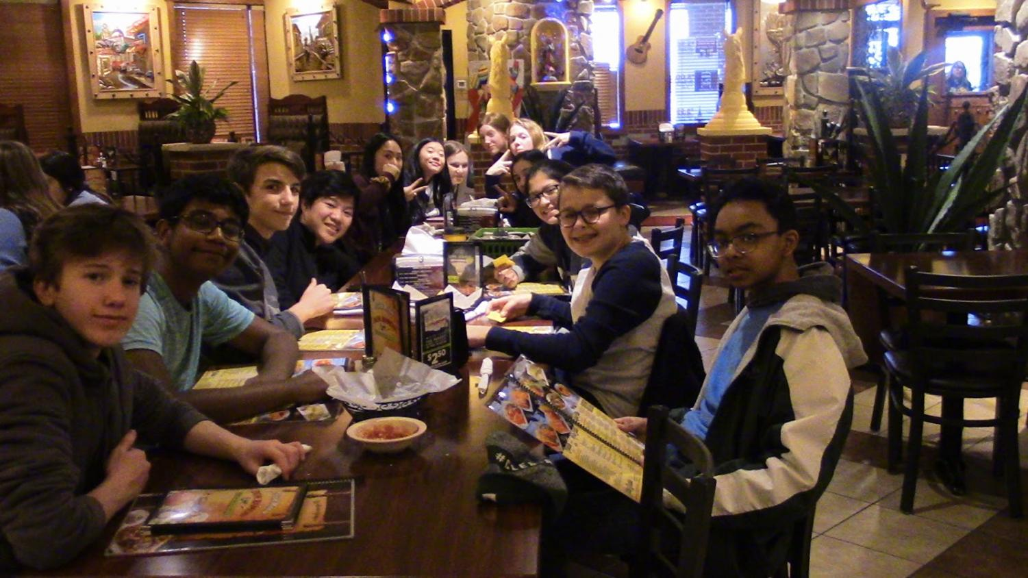 Yum! Spanish Club members enjoy their lunch at Don Ramon's on Monday.