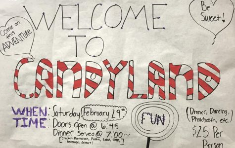 A Night in Candyland: Cats Cabinet has made posters advertising the Feb. 29 dance that are hung all over the school.