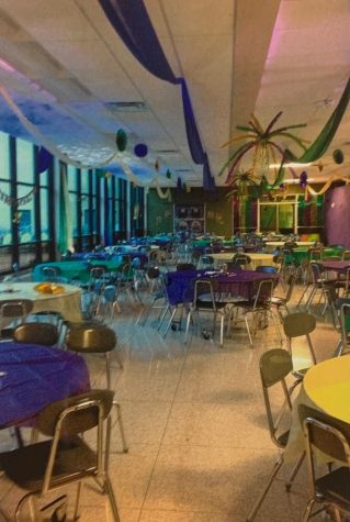 The cafeteria is decorated each year to fit the theme of Winter Formal.  Two years ago was a Mardi Gras theme.