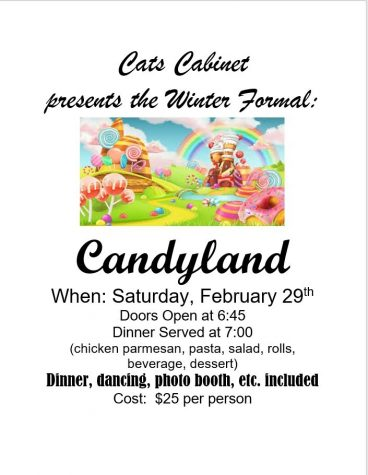 Cats Cabinet advertises for this weekend's Winter Formal