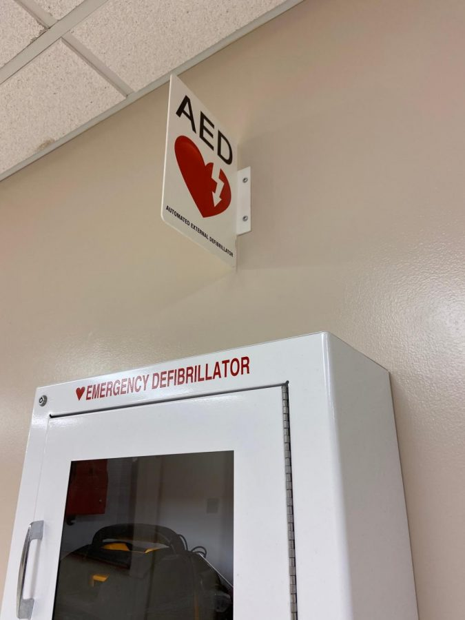 AEDs are located in many places around the building to help any individual who endures sudden cardiac arrest.