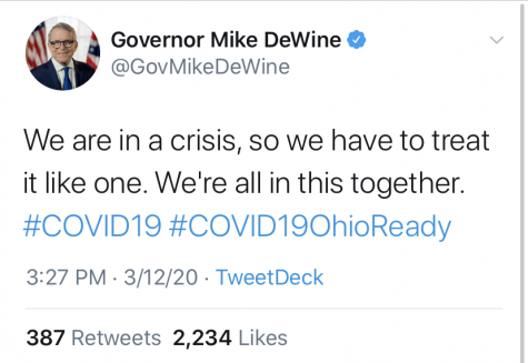Ohio Gov. Mike DeWine tweeted on March 11 that he wasn