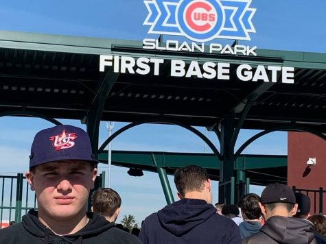 BIG MAN ON CAMPUS: Dylan Gamber stands in front of the Sloan Park First Base Gate entrance. Gamber was selected by Under Armour to compete in an event in Arizona.