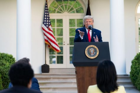 President Trump delivers the new social distance guidelines from the Rose Garden as he addresses the media.