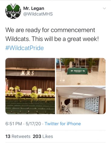 During the week of May 18, seniors have specific time slots to enter the auditorium and graduate in front of their immediate family.  Everything is being recorded, and the edited version of the entire ceremony will be released on June 6.
