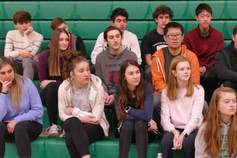 Members of the junior class listen to Career Day speakers in January.  Unfortunately, juniors were unable to attend other social events with their friends in April and May, including Prom.