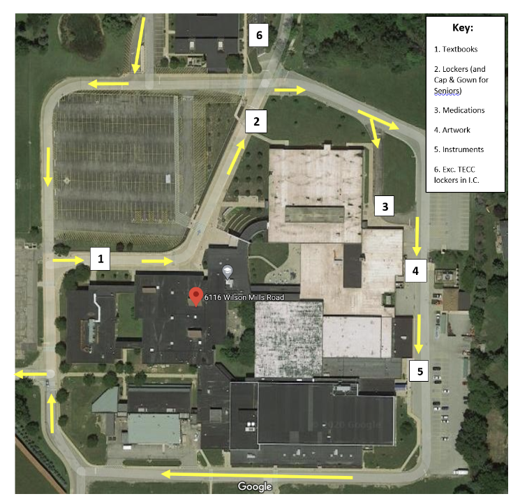The curbside pick-up map has been designed by assistant principal Jane Perry.  She said, The Curbside Pick-Up/Drop-Off days will allow students to return school-issued textbooks, equipment, and instruments.  It will also provide an opportunity to pick-up medications kept in the school clinic, art work, and the contents of the student's assigned  locker.