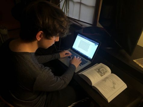 Sophomore Monti Yoo studies for his upcoming AP World History exam, which will be on Thursday, May 21.  The exam will be taken online and will last between three and four hours.