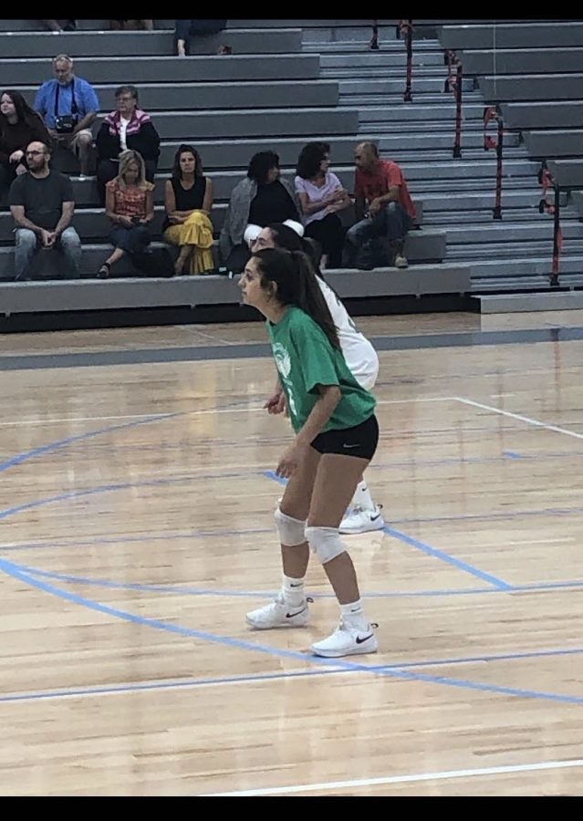 Bella+Jerome+competes+in+a+volleyball+game+during+the+2019+season.