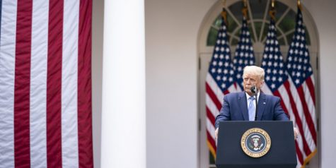 "President Donald Trump delivers remarks about the military at the White House.  While Trump has encouraged a powerful and well-funded military, Joe Biden wants reduced, responsible military funding and said, ""Our military is [just] one tool in our toolbox. """