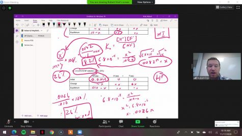 Bob Friel teaches his students essential Chemistry concepts for the AP test over a Zoom call.
