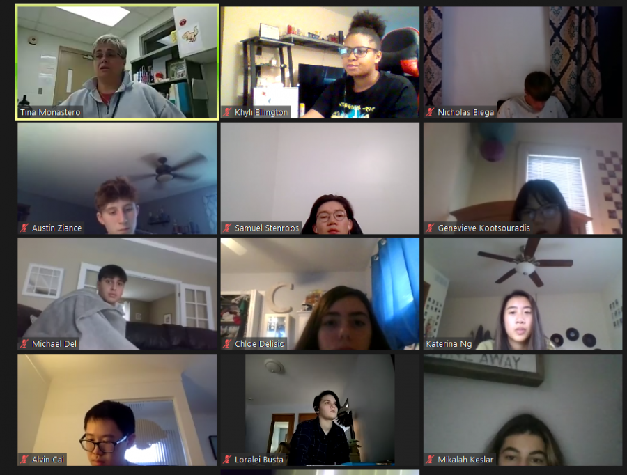 Health+teacher+Tina+Monastero+delivers+instruction+to+her+students+in+a+Zoom+meeting.