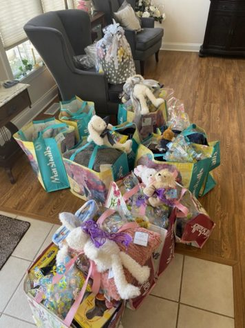 Easter baskets were generously overfilled for kids at the Hospice of Western Reserve.